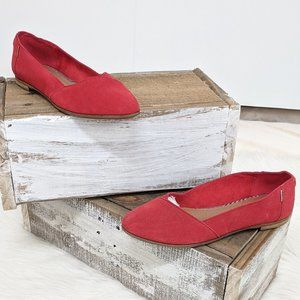 TOMS Red Suede Julie Flats